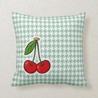 Cherries on Sea Green Houndstooth Cushion