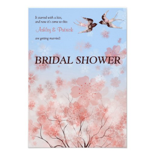 Cherry Blossom and Floral Swallows  Bridal Shower  Personalized Invitation
