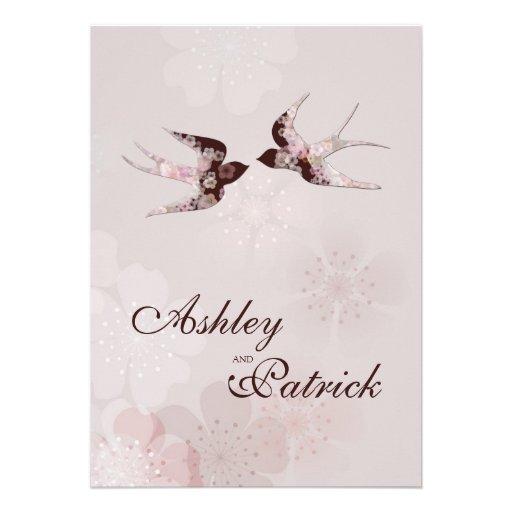 Cherry Blossom and Love Swallows Wedding Custom Invitations