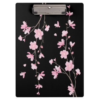 Cherry Blossom - Black Clipboard