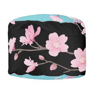 Cherry Blossom - Black Pouf