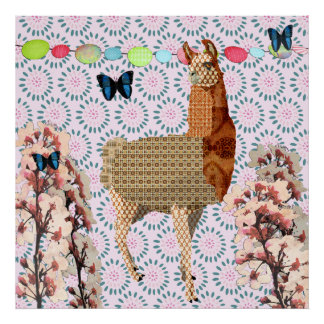 Cherry Blossom Boho Butterflies & Bronze Llama Pos Poster