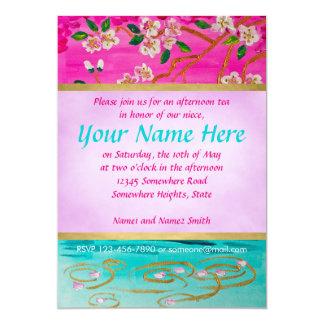 "Cherry Blossom Branch Sakura Water Ripple Painting 5"" X 7"" Invitation Card"