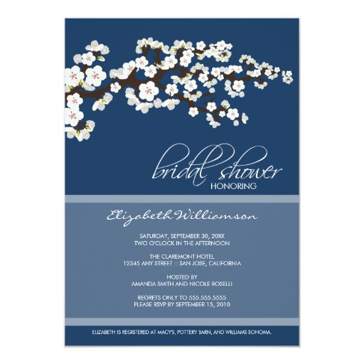 Cherry Blossom Bridal Shower Invitation (navy)