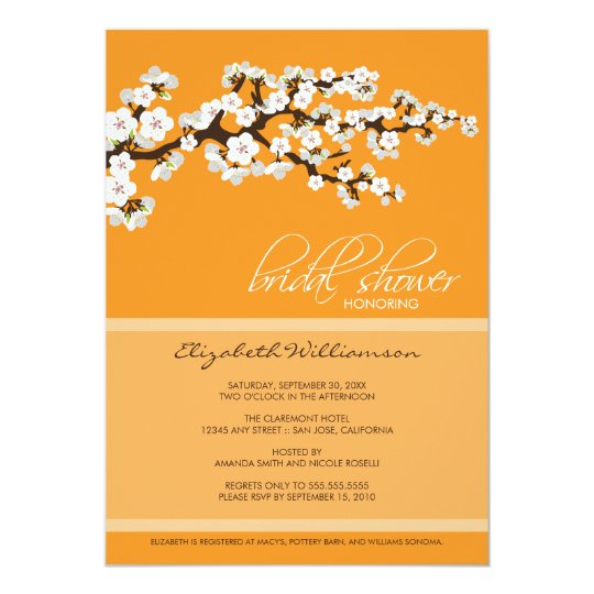 Cherry Blossom Bridal Shower Invitation (orange)