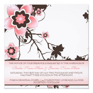 Cherry Blossom Classy Pink & Brown Wedding Invite