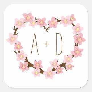 Cherry Blossom Floral Heart Wreath Monogram Square Sticker