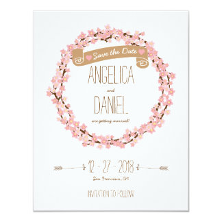 Cherry Blossom Floral Wreath Spring Save the Date Card