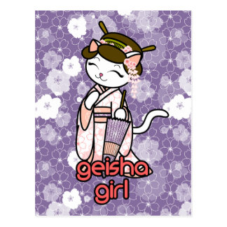 Cherry Blossom Geisha Kitty Post Card