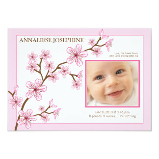 Cherry Blossom Girl Birth Announcement : baby pink