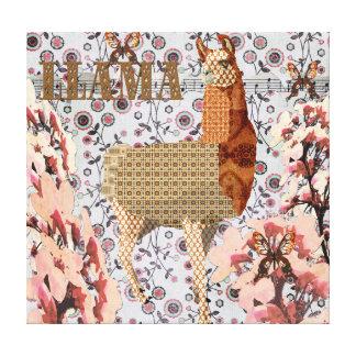Cherry Blossom Golden Llama Canvas Stretched Canvas Print