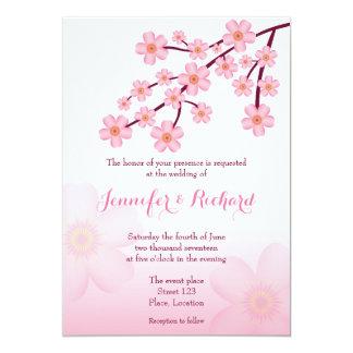 Cherry Blossom Pink Sakura Floral Wedding 13 Cm X 18 Cm Invitation Card