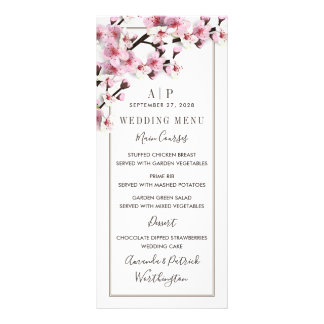 Cherry Blossom Pink White Wedding Menu Cards