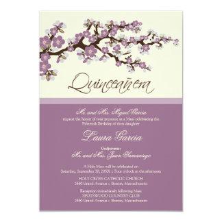 Cherry Blossom Quinceanera Invitation (purple)