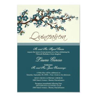 Cherry Blossom Quinceanera Invitation (teal)