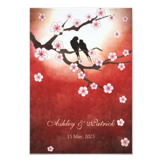 Cherry Blossom Sakura&Love BirdsReception Wedding 9 Cm X 13 Cm Invitation Card