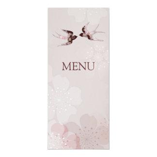 Cherry Blossom Sakura & Love Swallows Wedding Menu 10 Cm X 24 Cm Invitation Card