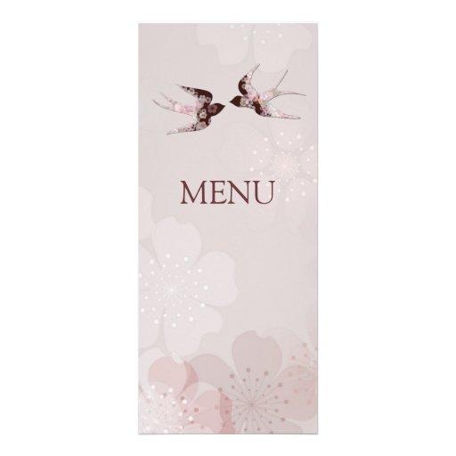 Cherry Blossom Sakura & Love Swallows Wedding Menu Custom Invites