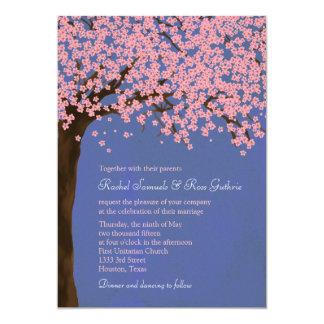 Cherry Blossom / Sakura (Night) Watercolor Wedding 13 Cm X 18 Cm Invitation Card