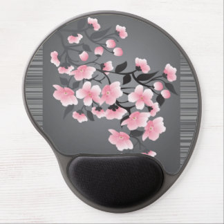 Cherry Blossom (sakura) on a gray black Gel Mouse Pad