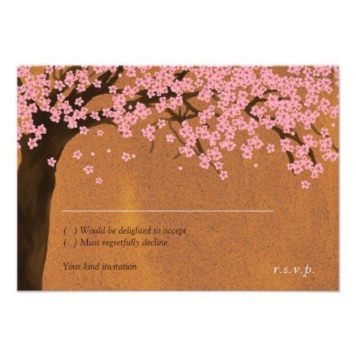 Cherry Blossom Sakura Watercolor (Sunset) RSVP Invites