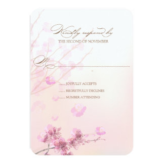 "Cherry Blossom/Sakura Wedding RSVP Cards 3.5"" X 5"" Invitation Card"