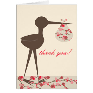 Cherry Blossom Stork Baby Shower Thank You Card