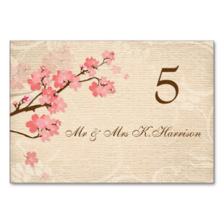 Cherry blossom Table Number card, Place card