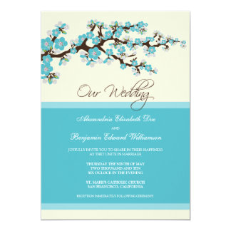 Cherry Blossom Wedding Invitation (aqua)