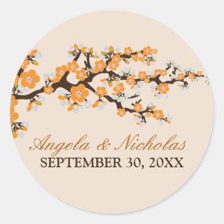 Cherry Blossom Wedding Invitation Seal (orange)