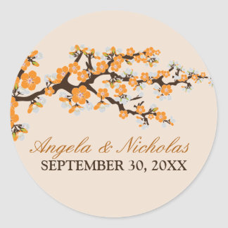 Cherry Blossom Wedding Invitation Seal (orange) Round Sticker