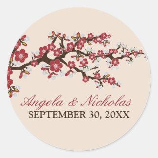 Cherry Blossom Wedding Invitation Seal (red)