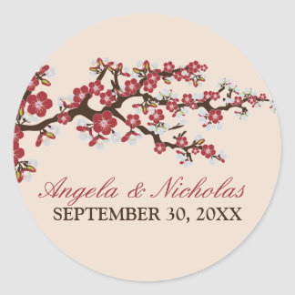Cherry Blossom Wedding Invitation Seal (red) Round Sticker