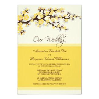 "Cherry Blossom Wedding Invitation (yellow) 5"" X 7"" Invitation Card"
