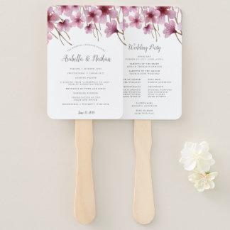 Cherry Blossom Wedding Program Hand Fan