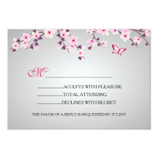Cherry Blossoms Baby Shower RSVP Card