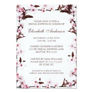 Cherry Blossoms Border Bridal Shower 13 Cm X 18 Cm Invitation Card