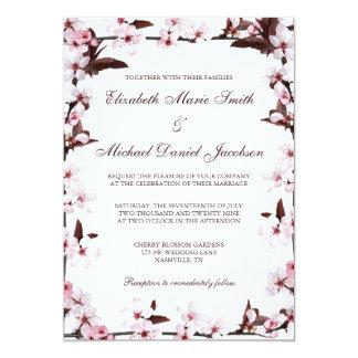 Cherry Blossoms Border Wedding 13 Cm X 18 Cm Invitation Card