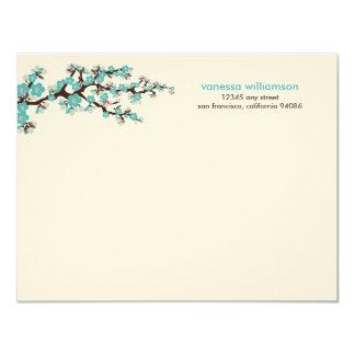 Cherry Blossoms Custom Flat Note Cards (aqua) 11 Cm X 14 Cm Invitation Card