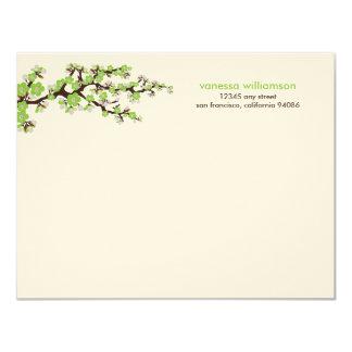 Cherry Blossoms Custom Flat Note Cards (green) 11 Cm X 14 Cm Invitation Card