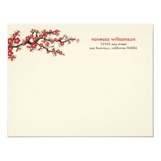Cherry Blossoms Custom Flat Note Cards (red) 11 Cm X 14 Cm Invitation Card