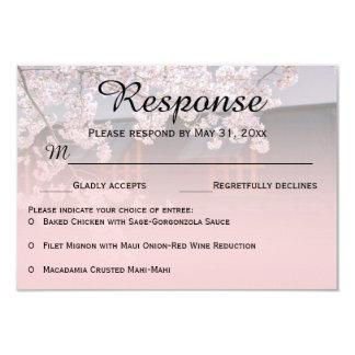Cherry Blossoms Flowers Wedding RSVP Cards 9 Cm X 13 Cm Invitation Card