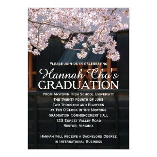 "Cherry Blossoms Graduation Announcement 5"" X 7"" Invitation Card"