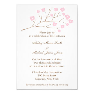 Cherry Blossoms in Pink Wedding Invitation