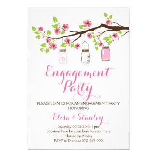 Cherry blossoms mason jar wedding engagement party 5x7 paper invitation card