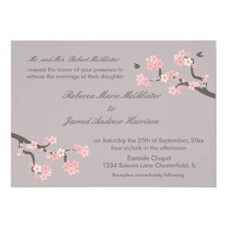 Cherry Blossoms pink/grey Landscape Invite