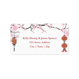 Cherry  Blossoms & Red Lanterns   Labels