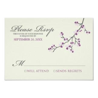 Cherry Blossoms RSVP Card (purple/grey)