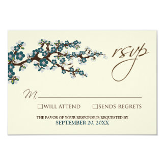 Cherry Blossoms RSVP Card (teal)