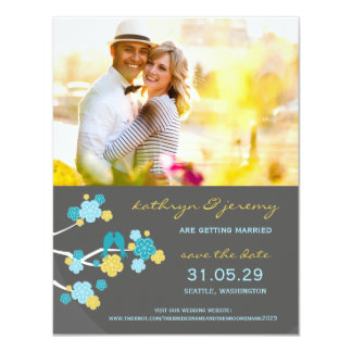 "Cherry Blossoms Sakura Love Birds Save The Date 4.25"" X 5.5"" Invitation Card"